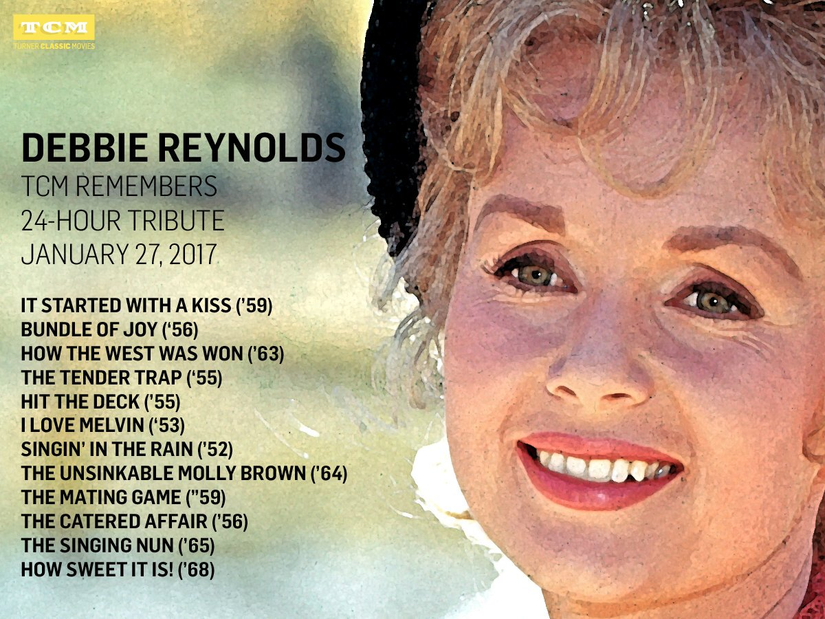 On January 27, @tcm will celebrate Debbie Reynolds' life & career with a day long tribute.https://t.co/EYAgkR0GFn https://t.co/oeAksWu5GV