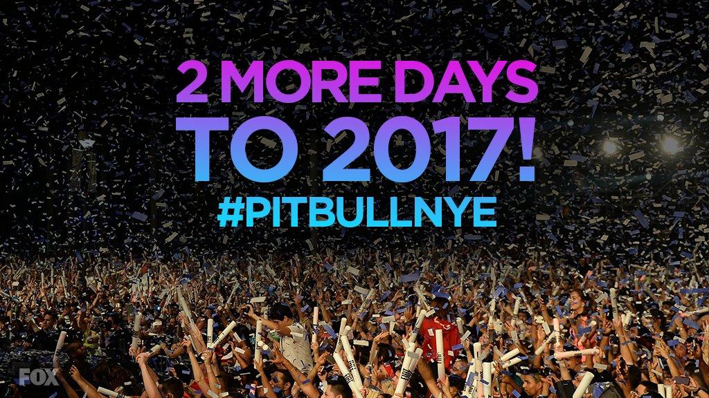 Two days to 2017! Get loose with @PitbullNYE live from @Bayfrontparkmia Miami 12/31 at 11PM ET on @FOXtv #PitbullNYE https://t.co/RtJvK2yyp9