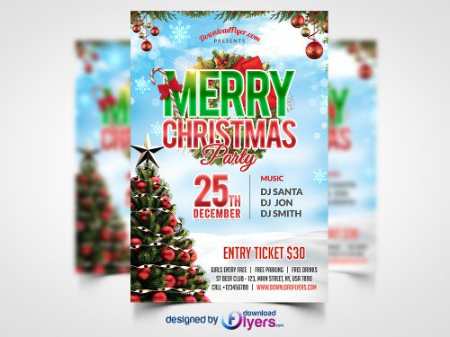 Christmas Party Flyer Free PSD Template Flyers Print freepsd psd freebie download