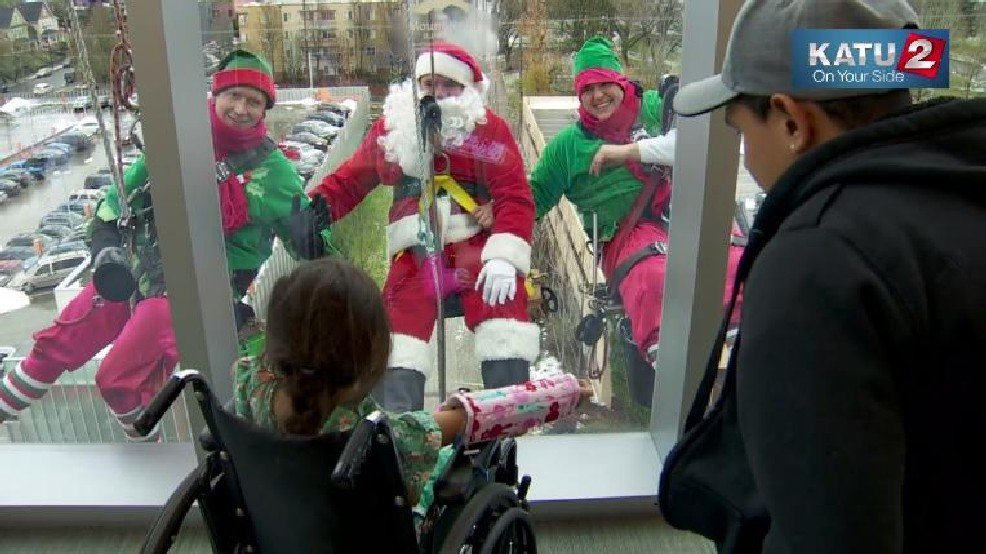 Santa swings by to visit the kids at Randall Children's Hospital