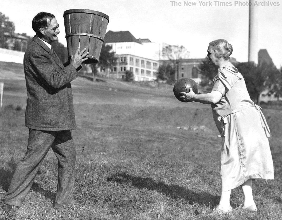 james naismith playing basketball