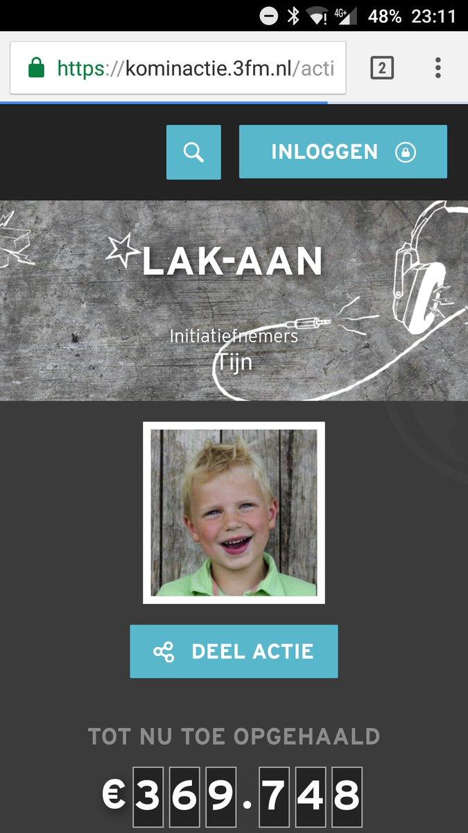 Al bijna 370.000 voor #tijn #lakaan #SR16 #Heelhollandlakt diep respect! #fb https://t.co/3SPD65kQqn