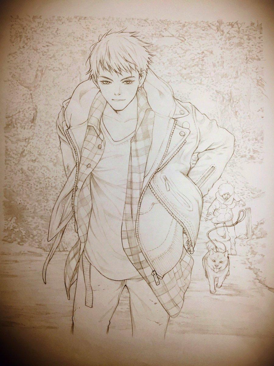 本日発売となりました『チア男子!!』BD&DVD第4巻のジャケ線画、尚史(…とタケル&豆柴のあられ)です。サイト
