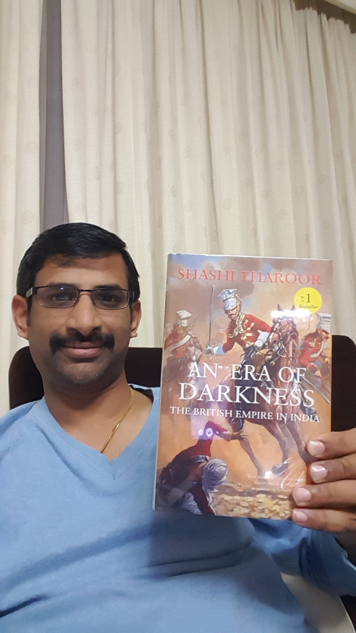 @ShashiTharoor Dr. My copy just arrived in Bahrain. Aapkey saath nahi toh Aapkey book ke saath hi selfie le lei. https://t.co/qMY4pdzpNG