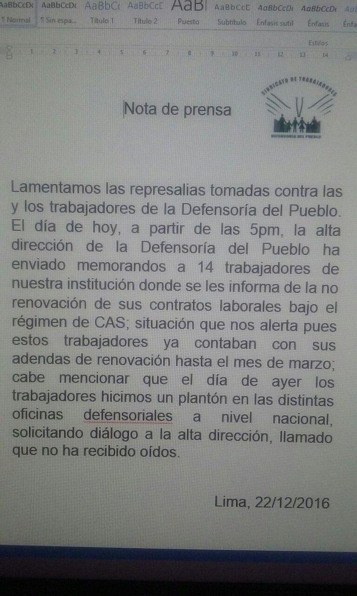 Terrible lo que pasa en @Defensoria_Peru  ahora https://t.co/lLHiEKsaKF