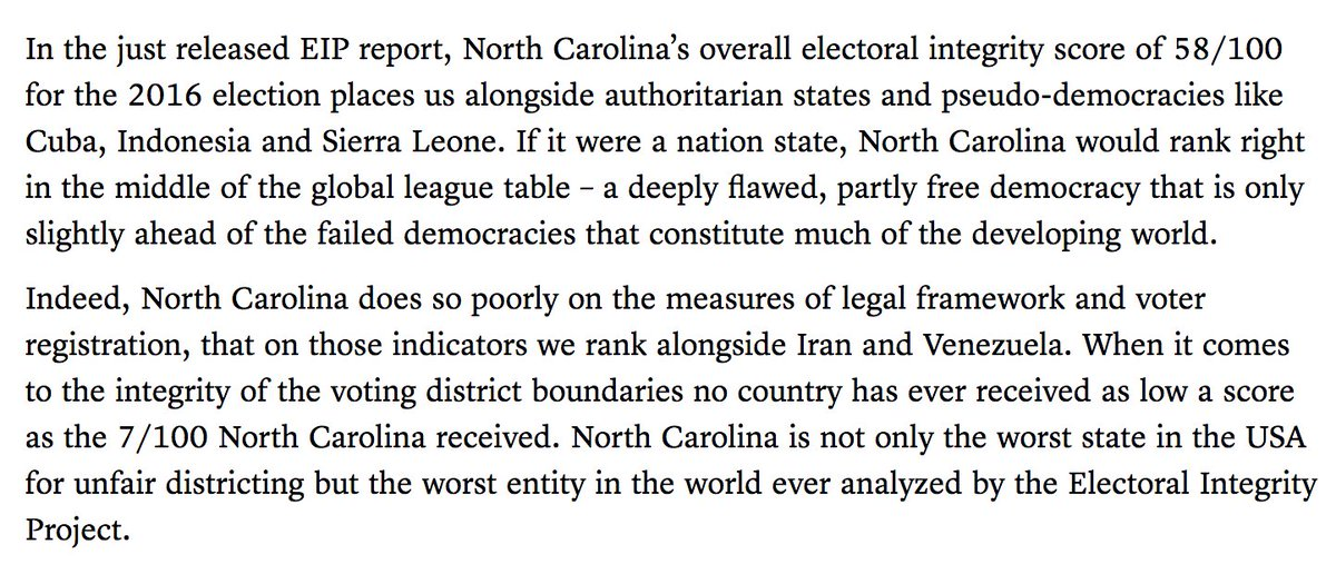 """North Carolina is """"no longer considered to be a fully functioning democracy."""" https://t.co/0Rflh2VYP9 https://t.co/pi1W0aKNtV"""