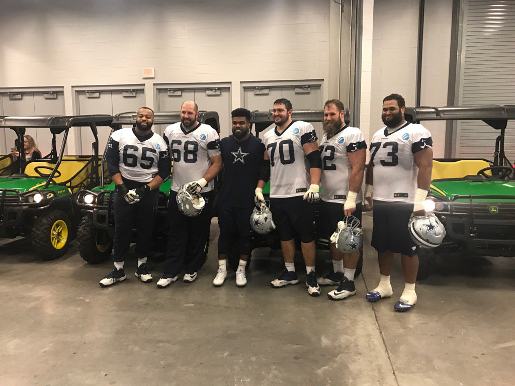 Lots of smiles and hugs from the Cowboys OL and @EzekielElliott right now. https://t.co/SdK2tCFgxw