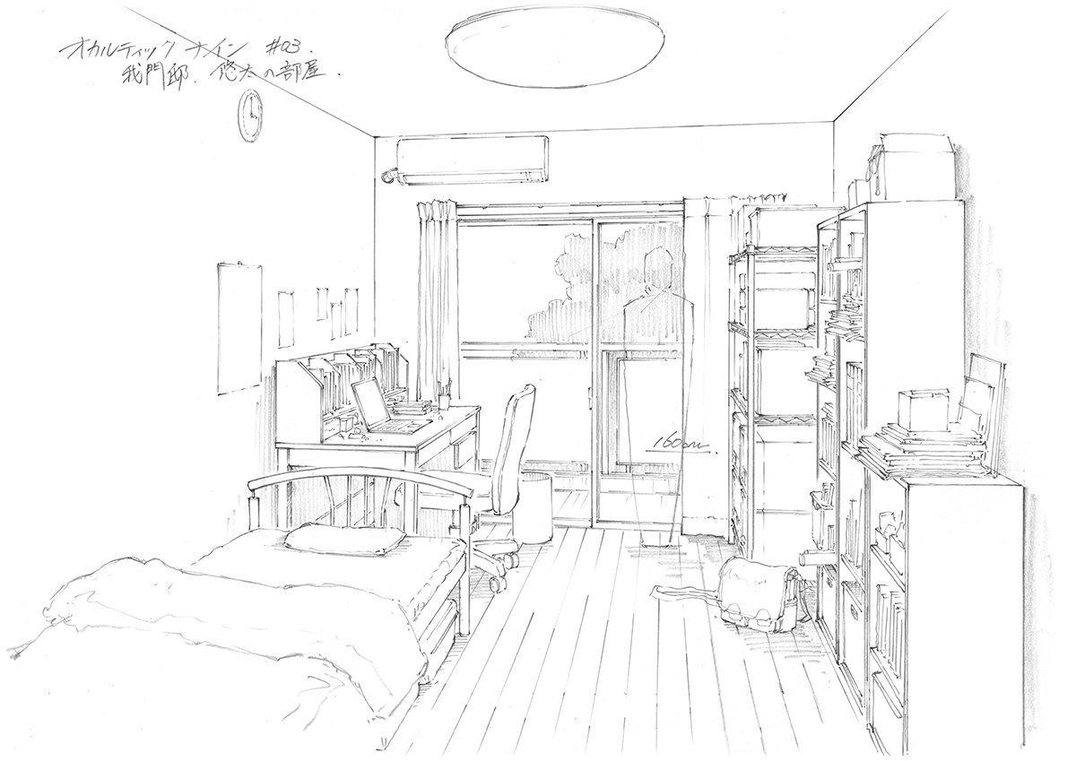 【オカルティック・ナイン】悠太・サライ・実優羽の部屋です。登場人物の部屋を描くのはかなり楽しい作業ですね。#occult