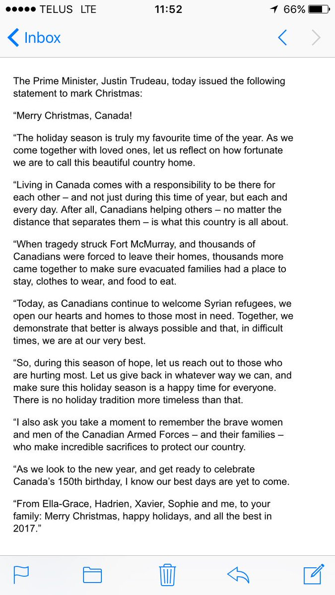 Justin Trudeau's Christmas statement manages to reference Syrian refugees but not Jesus or Christianity. https://t.co/wRsl6bNulD
