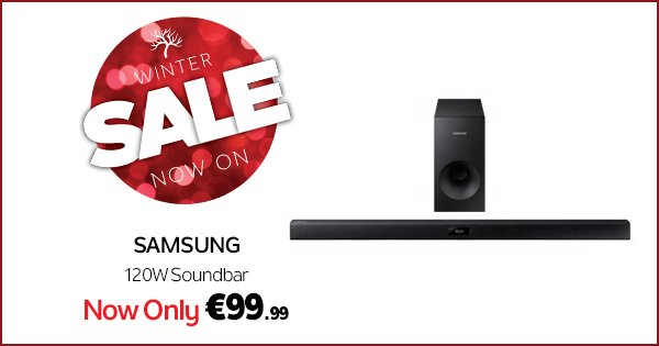 Vamp up your Xmas movie marathon with a Samsung soundbar for just €99.99! https://t.co/IRNPNwwp2w #WinterSale https://t.co/3NDSr7Y529