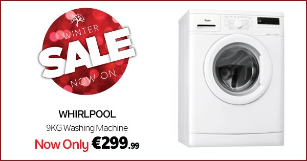Get the Whirlpool 9KG washing machine for only €299.99 at DID! #WinterSale https://t.co/k2MpNVy99C https://t.co/yryf1ypIR2