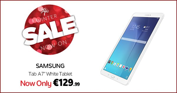 "Treat yourself to a Samsung Tab A lightweight, premium 7"" tablet in the DID #WinterSale https://t.co/cZzS4QsBnO https://t.co/zOIhoyJiMc"