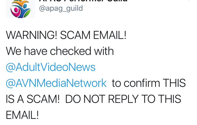 1 pic. Performers! A scam warning from @apag_guild Thank you Guild! https://t.co/0U9B3qzSZa