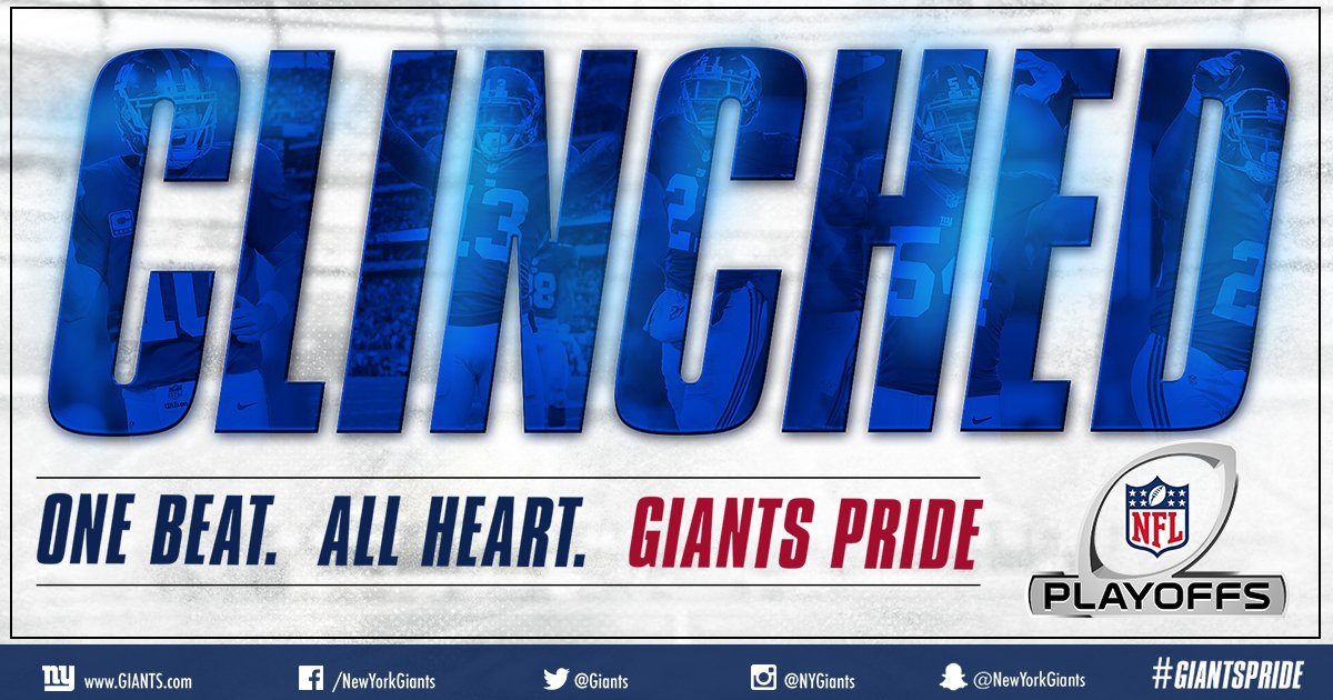 PLAYOFF BOUND! Your Giants are headed to the postseason! Watch the top plays of 2016 HERE: https://t.co/rVP81de9ZW https://t.co/xGENgXa7Oj