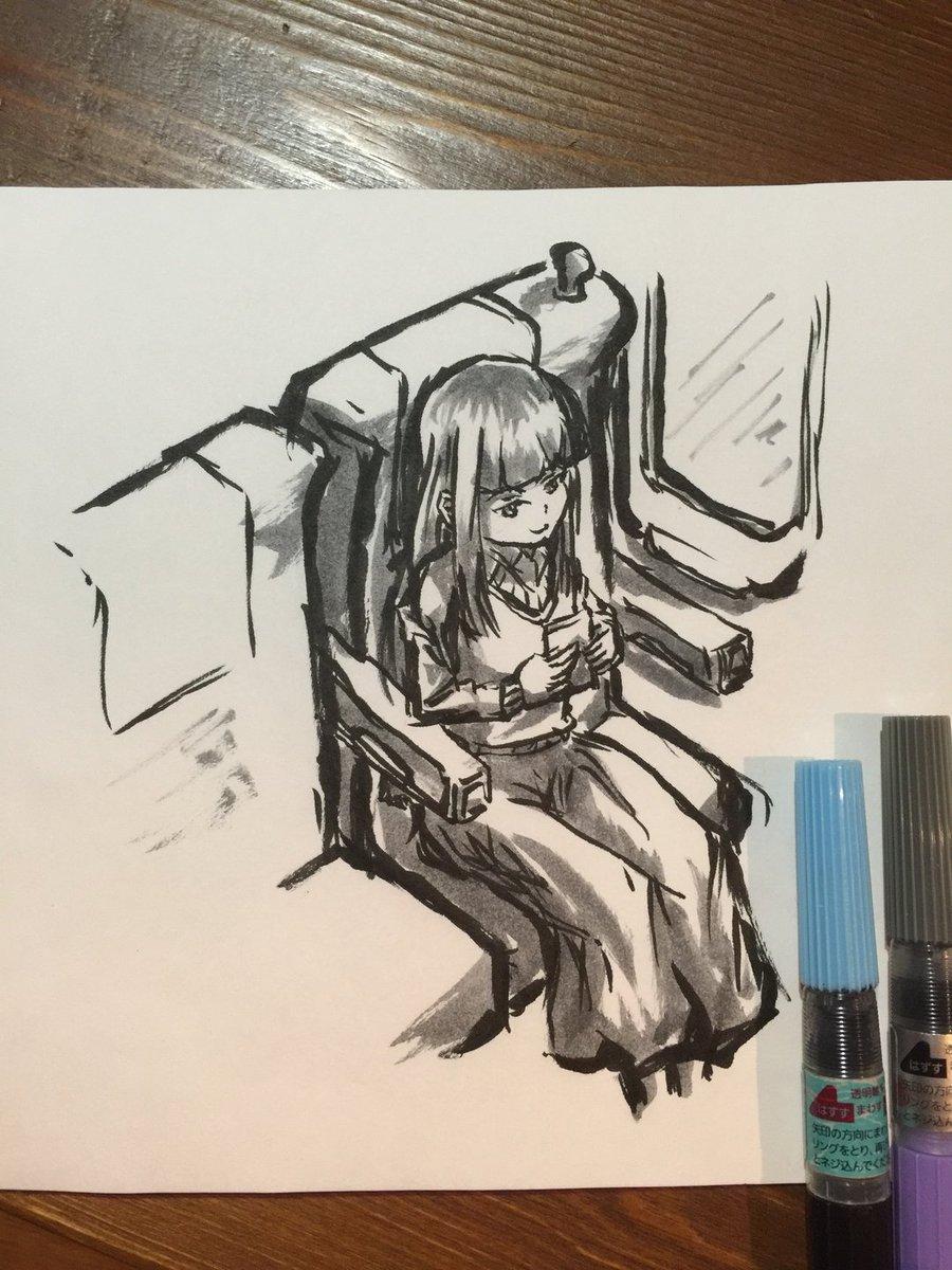 #バーナード嬢曰く。 #神林しおり  荷物は棚の上ということで…  #落書き #筆ペン #一発描き