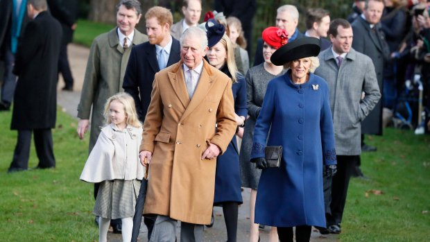 Royal Family attends traditional Christmas service; Queen absent as she recovers from cold
