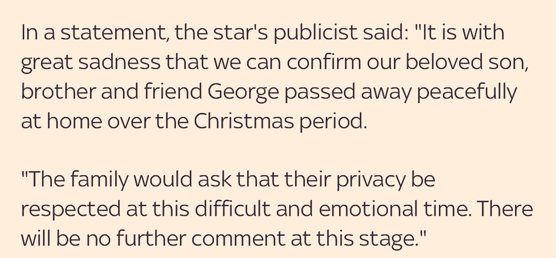 Full statement on the news #GeorgeMichael is dead. https://t.co/4rLloZlmer