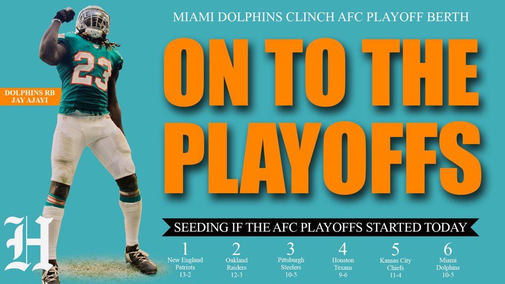 The Miami Dolphins will be in the 2016 NFL playoffs. https://t.co/jwUCLwIU7e
