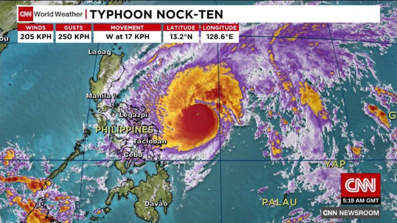 Typhoon Nock-ten hits the Philippines on Christmas