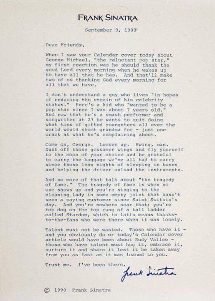 """Talent must not be wasted."" Frank Sinatra's amazing 1990 letter to George Michael. #ripgeorgemichael via @JazzInPop https://t.co/qoCoB5rQZ8"
