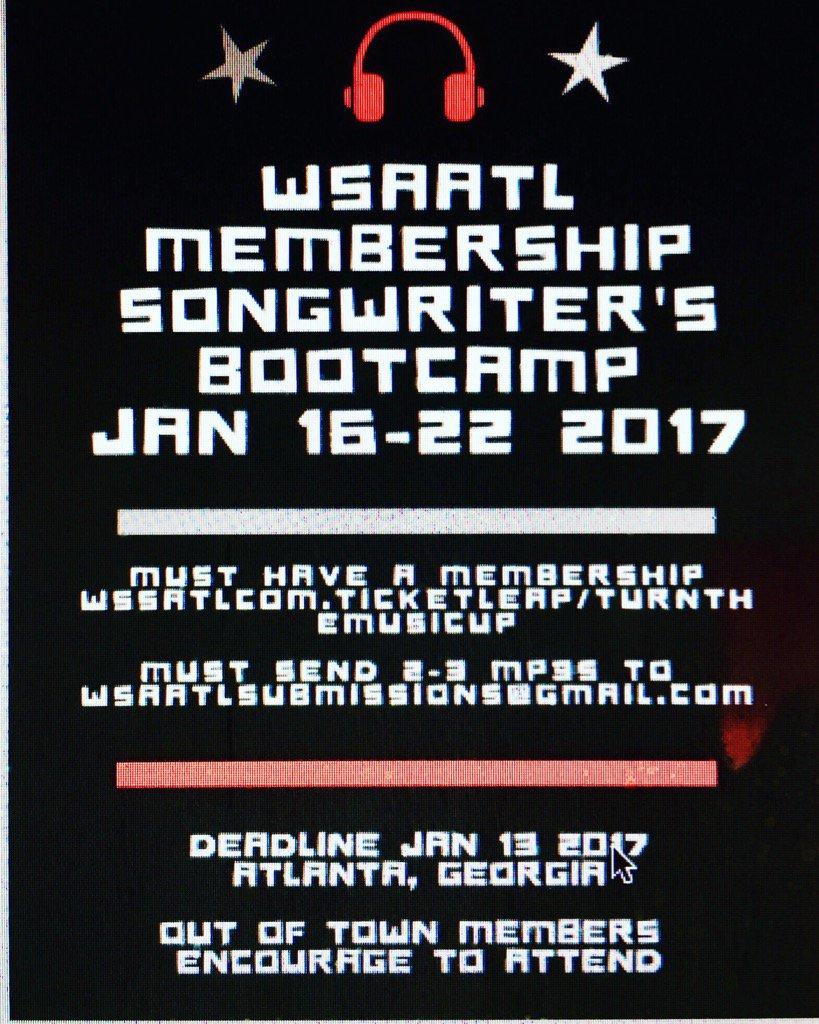 @OfficialElizC Jan 16-22 #WSAATL Membership Songwriter's Bootcamp #ATL  #Pressure https://t.co/bItkKPjWSj Register https://t.co/GbYxdTarIx