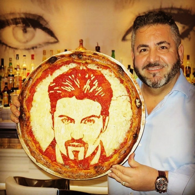 More timely pizza art from @BellaNapoliNews. RIP George Michael #georgemichael https://t.co/7FKNOWynEr