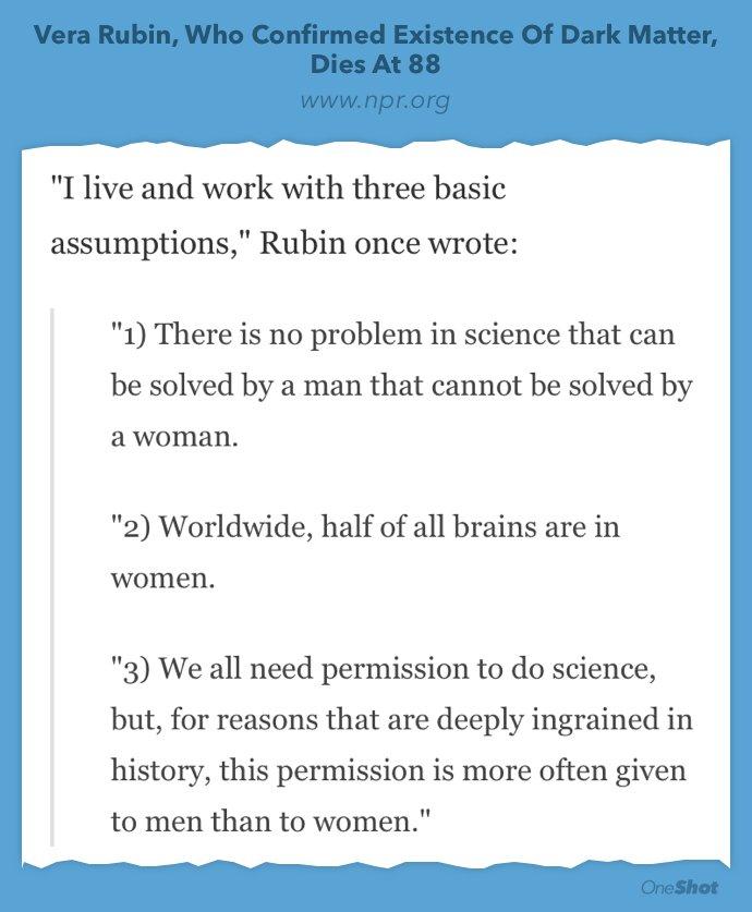 Vera Rubin's take on women in science. https://t.co/S8IQPzkdhQ https://t.co/Z8uGz5t0PN