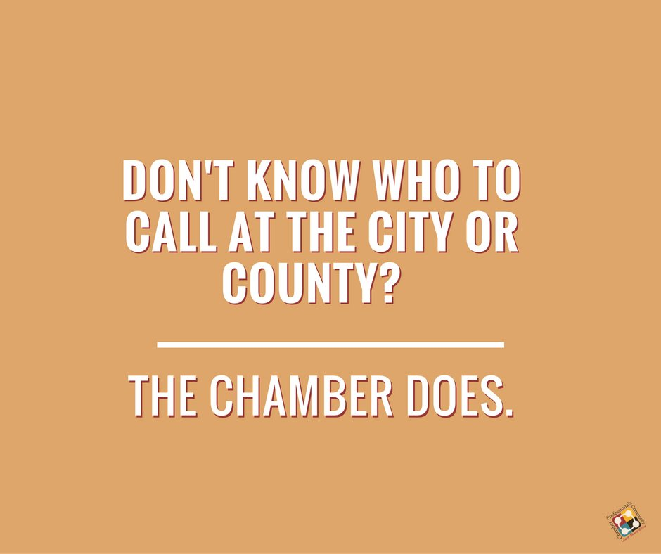 Business is about who you know. If you don't know who to call at the city or county, don't worry. The chamber does. https://t.co/7HnYtvRS7D