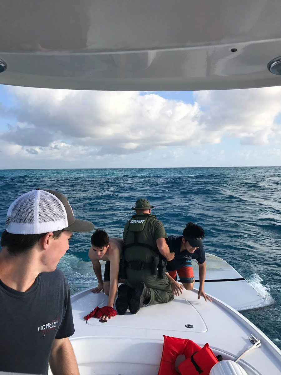 Three teens rescued off the coast of the Florida Keys after their boat capsized.