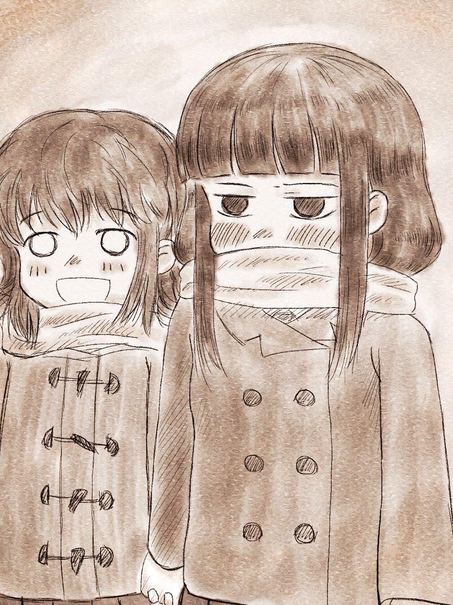 さわ子で暖を取ることを覚えた神林。 #ド嬢 或いは、さわ子が神林の手を引くのではなく神林がさわ子の手を引く漫画を描きたい