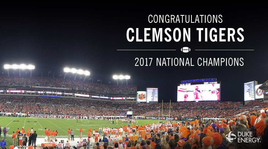 We might power @ClemsonUniv, but last night @ClemsonFB electrified America! Congratulations Tigers! #ALLIN https://t.co/pv3Jg98yi1