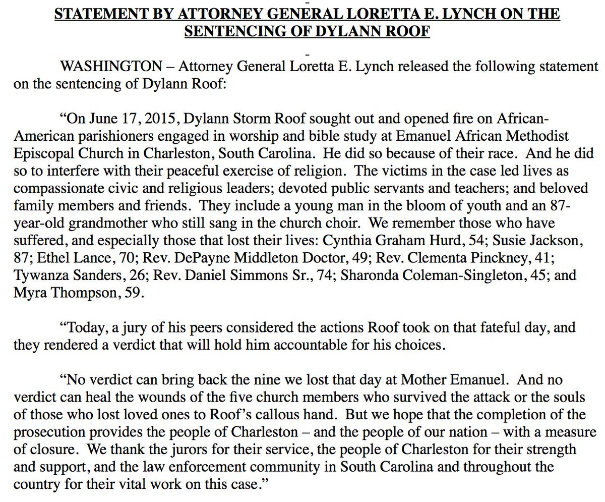 "JUST IN AG Lynch on Dylann Roof being sentenced to death ""No verdict can heal the wounds."""