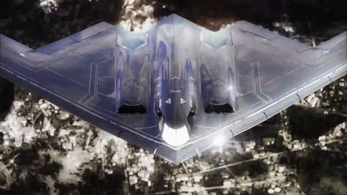 化けガラスこと、B2スピリット(米国製)。言わずとしれた超々高価な爆撃機。1機あたりのお値段はスカイツリー1本分だとか…