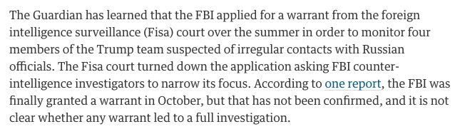 Guardian says FBI demanded a FISA warrant to monitor the Trump campaign. https://t.co/KKtC32F1Mt https://t.co/v6wEh29GAX
