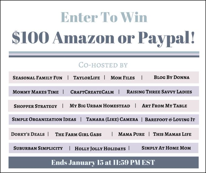 $100 Amazon or PayPal Giveaway (1/15 US)