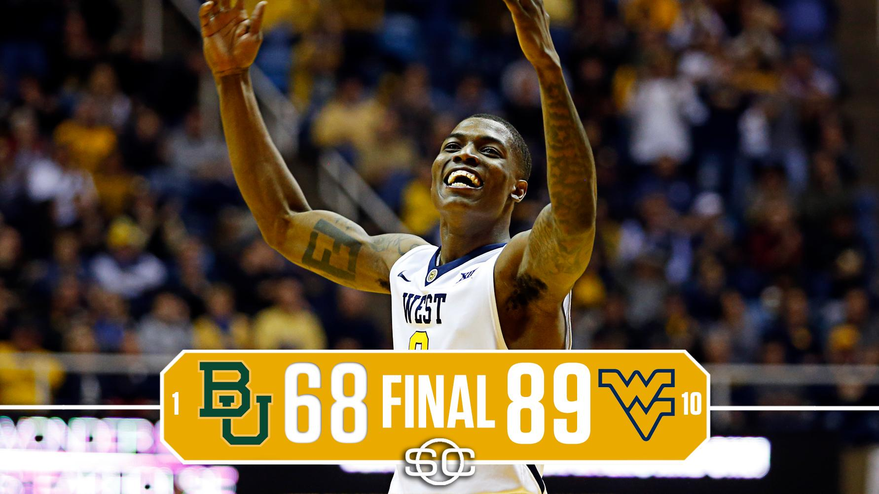DOWN GOES NO. 1 BAYLOR!  No. 10 West Virginia shocks Baylor in its 1st game as a top-ranked team in school history. https://t.co/PQnGLKEGau