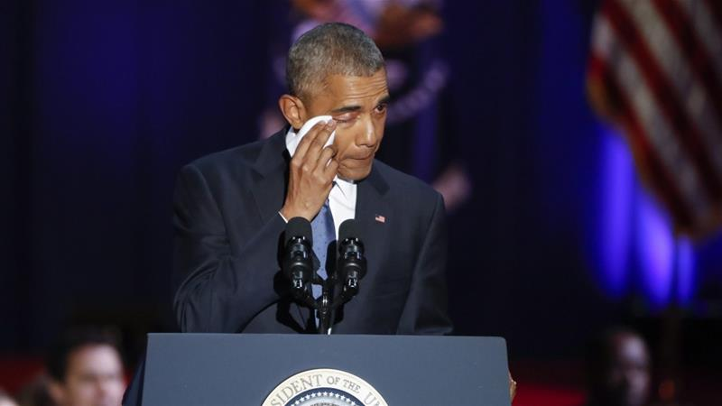 Barack Obama's final speech: 'We rise or fall as one' https://t.co/6lpM5OvxHd #ObamaFarewell https://t.co/q6zUEGXyh5