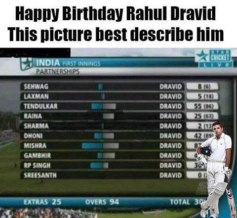 Happy birthday The Wall - Rahul Dravid