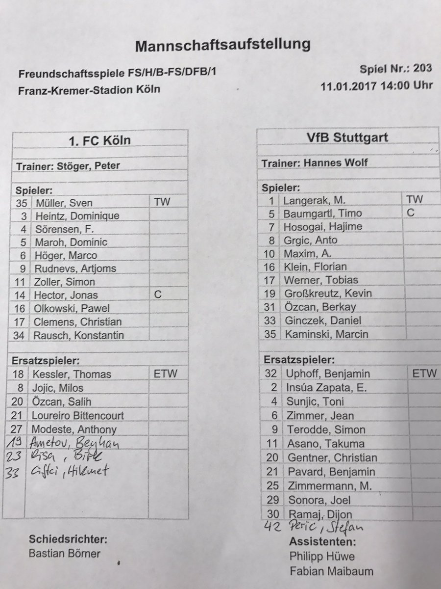 RT @fckoeln_en: ⚽️ This is how #effzeh and @VfB_int will line up for today's friendly. #KOEVfB https://t.co/d791eAR7Xt