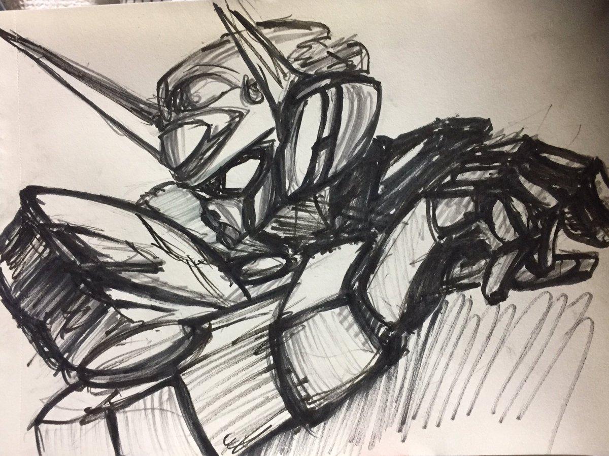 時間ないから筆ペンのモノクロで一部分!でも満足!MG出してくれー! #YG111の日 #gレコ #gセルフ