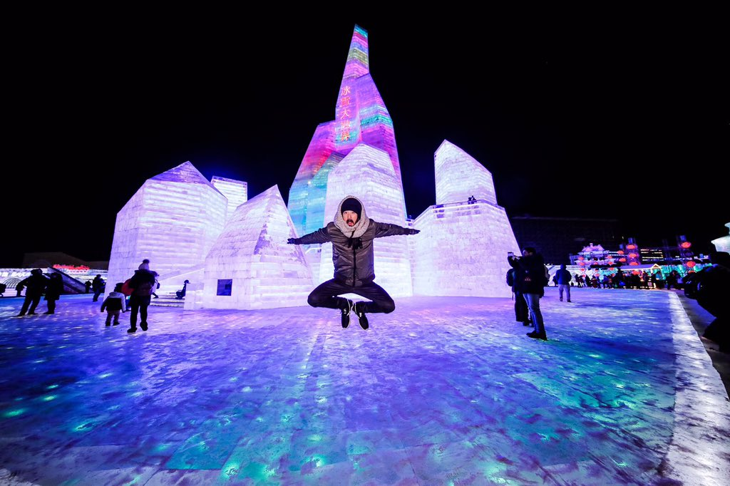 #aokijump #748. The coldest place in da world Jump. #SnowWorld. Harbin China. January 10, 2016. https://t.co/gq45G1iIYS