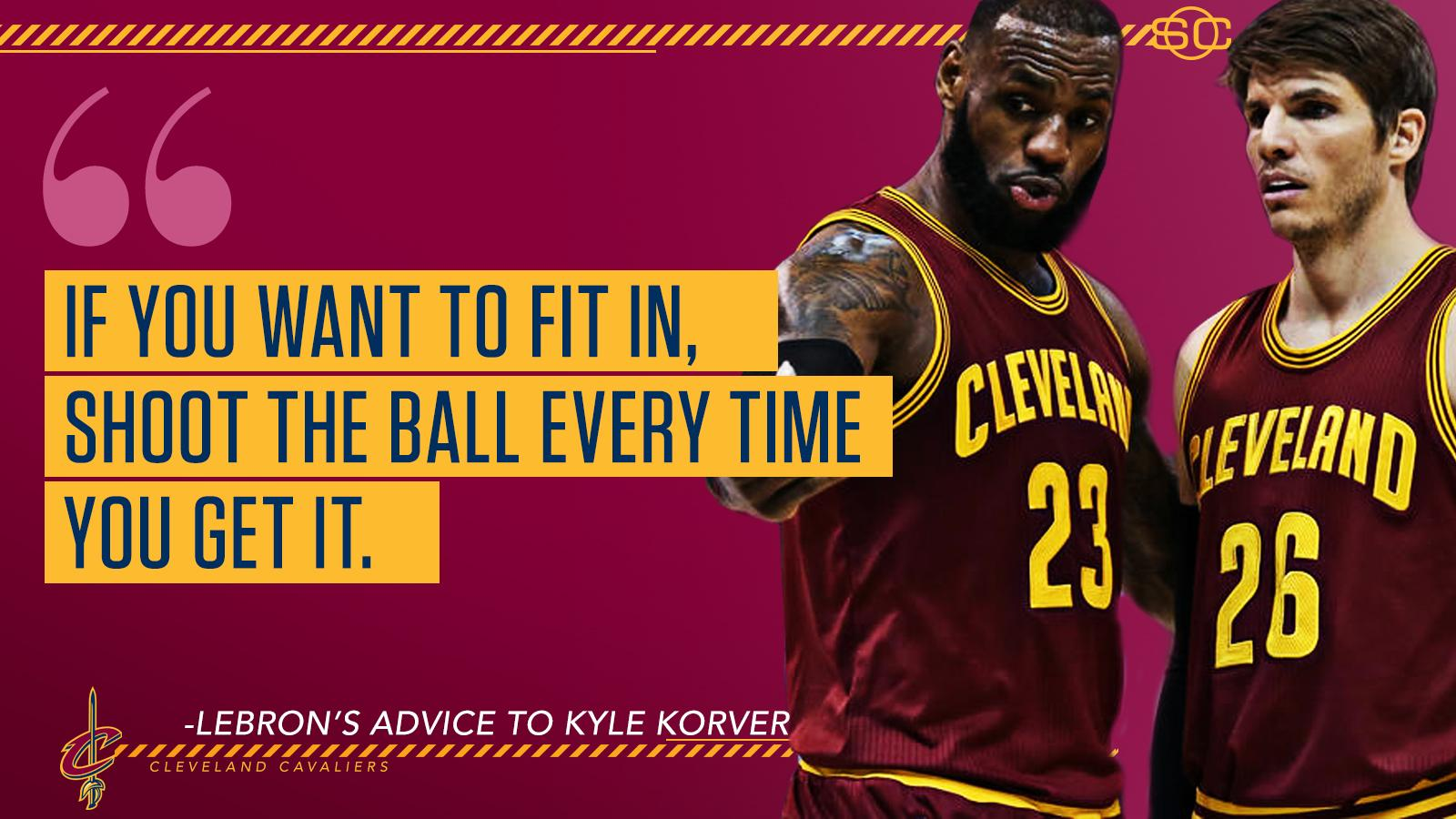 LeBron's advice for Kyle Korver is simple. https://t.co/qlTm6TvS3O