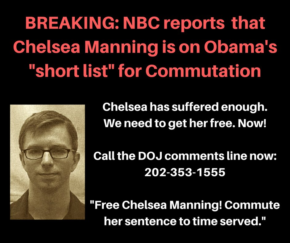 Chelsea Manning has suffered enough. @POTUS do the right thing & #FreeChelseaNow. https://t.co/b3PZ4J7MIn https://t.co/XImsEU8hua @IDLtweets