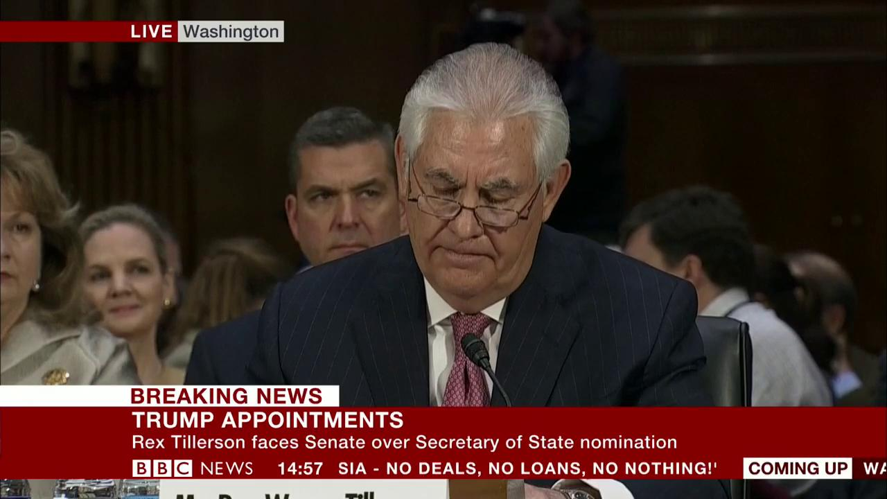 Heckler interrupts Rex Tillerson saying 'I reject you' during US Senate confirmation hearing https://t.co/FCVETjIp7a https://t.co/y7BGMOSvul
