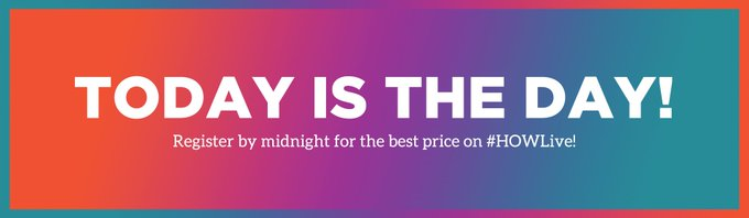 RT @HOWdesign_live: Your best price on #HOWLive ends at midnight! Register now: https://t.co/6WeheoKmm7 https://t.co/a5PSwiLUFk