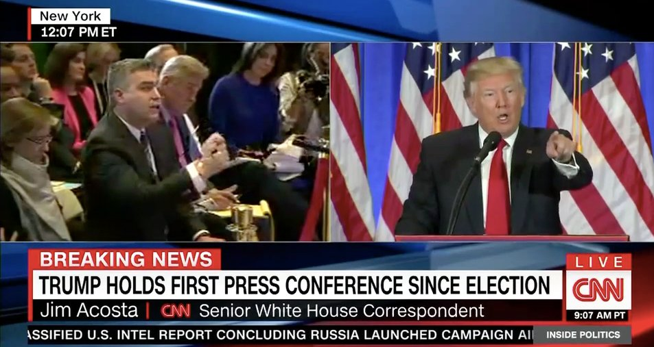 Trump refuses to take question from CNN because it reported on Russia allegations: https://t.co/RKmS8572qv https://t.co/EHip3fwYLB