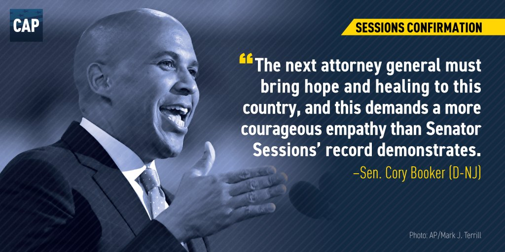 .@CoryBooker at Sessions confirmation hearing this afternoon https://t.co/Fi9jmZamOm