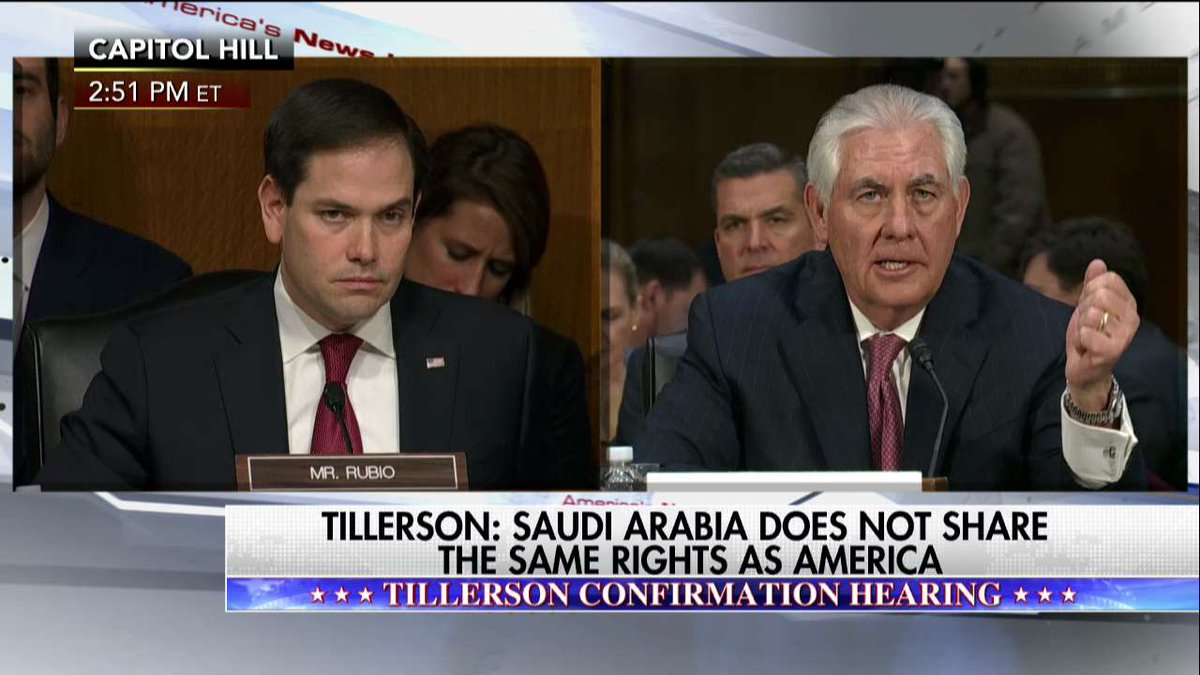 Rex Tillerson: Saudi Arabia does not share the same rights as America.