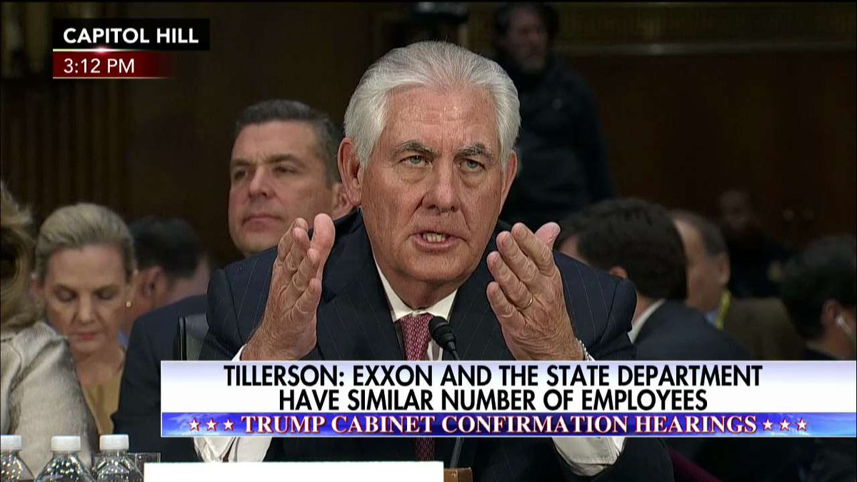 Tillerson: @exxonmobil and @StateDept have similar number of employees.