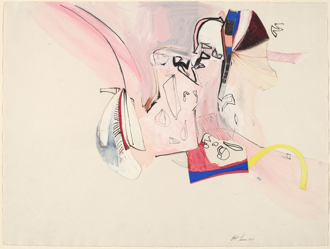 Happy birthday Eva Hesse! Untitled, mixed media drawing, 1964